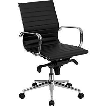 Flash Furniture Mid Back Black Ribbed Leather Swivel Conference Chair with  Knee Tilt Control and ArmsAmazon com  Alera Neratoli Mid Back Swivel Tilt Chair  Black Soft  . Flash Furniture Mid Back Office Chair Black Leather. Home Design Ideas