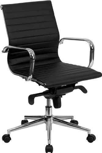 Flash Furniture Mid-Back Black Ribbed Leather Swivel Conference Chair with Knee-Tilt Control and Arms - Flash Furniture Black Leather