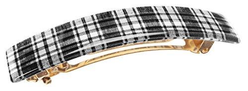 France Luxe Classic Rectangle Barrette - Tartan Plaid Black/White