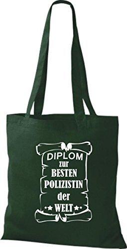 Shirtstown Bolso de tela Diploma para la besten Mujer policía der Welt Verde