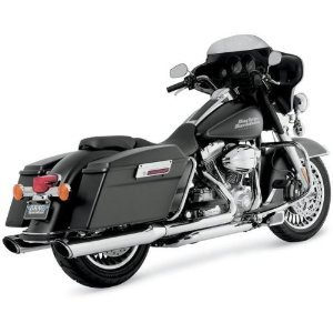 Vance & Hines 16763 Twin Slash 4 Rounds Chrome Slip On Mufflers For Harley-Davidson Touring 1995-2016 Bikes (Best Slip On Mufflers For Harley Touring)