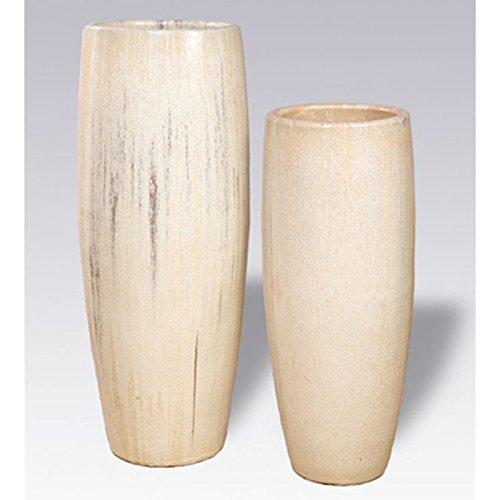 Tall Cylinder Ceramic Planter - Cream by Emissary