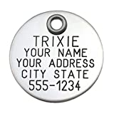 Pet ID Tag – Round – Custom engraved dog and cat ID tags. Pet safety tag has reflective coating and is available in plastic, stainless steel and brass., My Pet Supplies