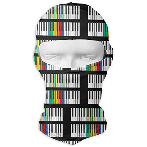 Leopoldson Colorful Piano Keys Black Balaclava UV Protection Windproof Ski Face Masks for Cycling Outdoor Sports Full Face Mask Breathable ()