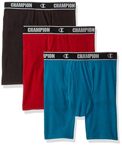 n Performance Long Boxer Brief Black/Mermaid, Woven red, Large ()