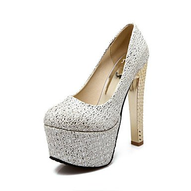 Gold Heels Chunky Silver Customized 10 Career UK7 Heel 5 5 CN42 EU41 US9 8 Materials Women'S Wedding Shoes Heels Dress Office amp;Amp; qXOAxxn4