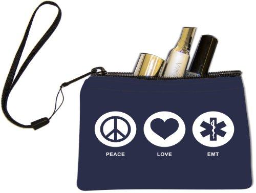 Rikki Knight Peace Love EMT Blue Color Design Keys Coins Cards Cosmetic Mini Clutch ()
