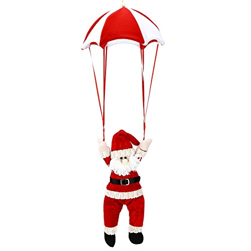 YOOYOO Christmas Santa Claus Snowman Parachute Toy Hanging Decoration (RED WITH WHITE)