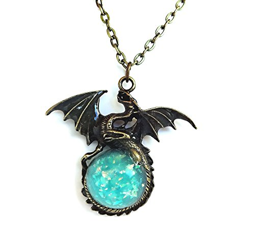 Glow in the Dark Bronze Dragon Necklace Charm with Glowing Blue Sparkle Orb Uv Flashlight (Glowing Animal Flashlight)