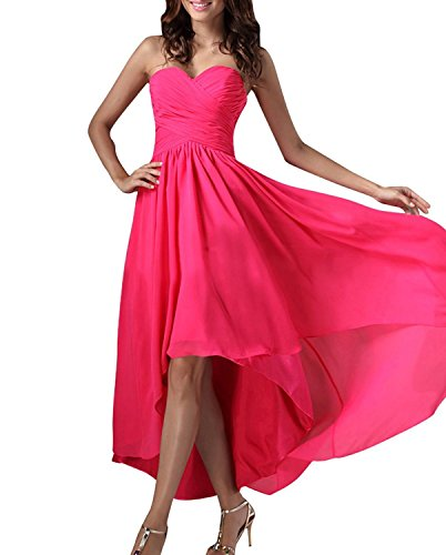 Dress H Asymetrical Chiffon S Fuchsia s Women Sweetheart D Gowns Bridesmaid Prom 74qgw78
