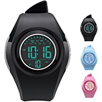 Kids Watch Waterproof Children Electronic Watch - Lighting Watch 50M Waterproof for Outdoor Sports,LED Digital Stopwatch with Chronograph, Alarm,Time Window Child Wrist Watch for Boys, Girls (Black)