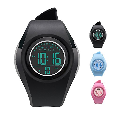 Kids Watch Water resistant Children Electronic Watch-Lighting Watch 50M Waterproof for Outdoor Sports,LED Digital Stopwatch with Chronograph,Alarm,Time Window Child Wrist Watch for Boys, Girls (Black)