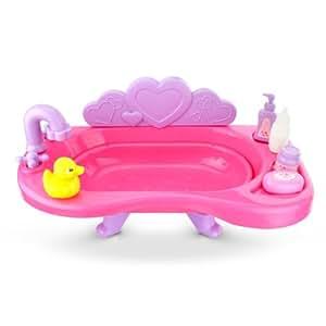 Schablonen - Bañera para muñecos de hasta 34 cm, color rosa