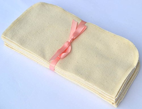 ye Washable Baby Wipes New larger size 9x9-10 Pack - Little Wipes (R) - GOTS Certified - Sewn with Matching Organic Cotton Thread ()
