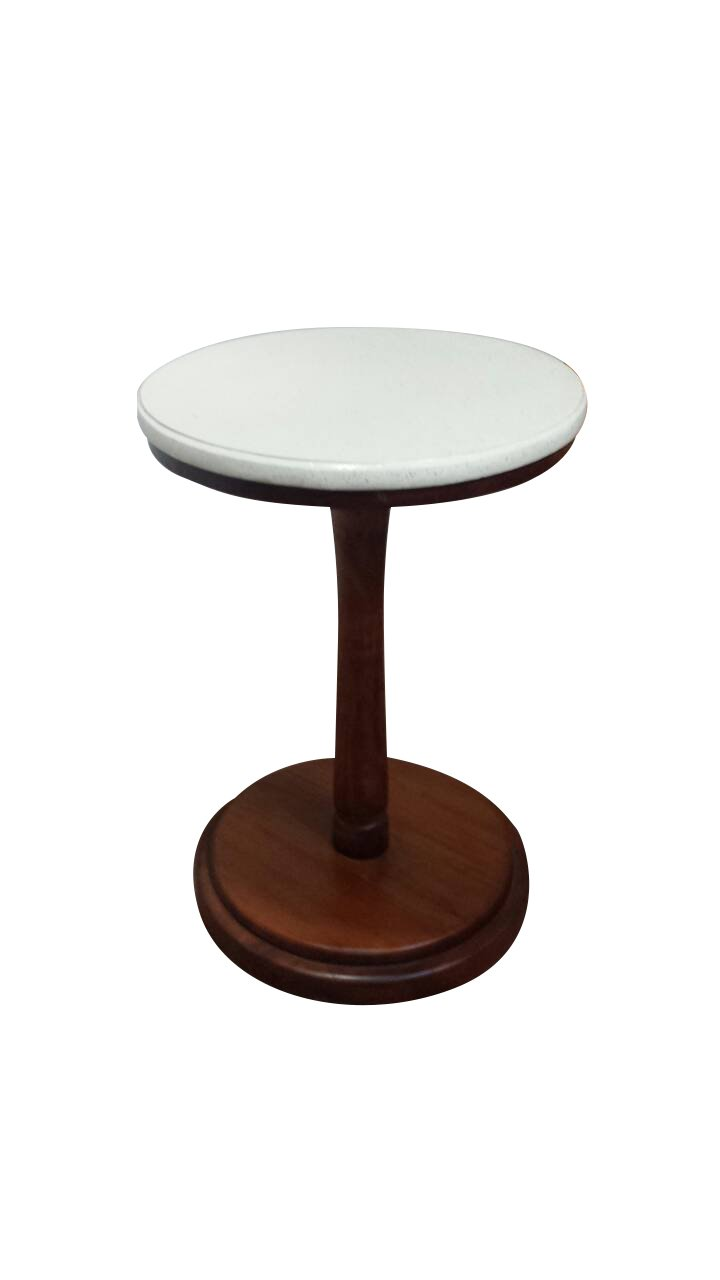 Urnporium Terrazzo marble top with mahogany base plant stand, pedestal table, accent table, side table, telephone table
