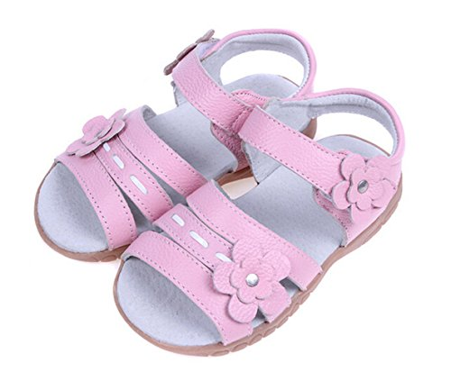 Bumud Girls Genuine Leather First Walkers Flower Open Toe Sandals (Toddler, Little Kid) (11 M US Toddler, Pink) ()