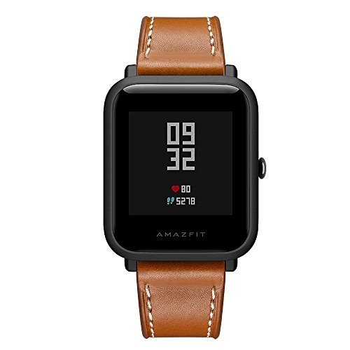 Kartice Compatible Amazfit Bip Band,Huami Amazfit Bip Bands Genuine Leather Strap Replacement Buckle Strap Wrist Band Compatible Amazfit Bip Smartwatch. (Brown) by Kartice (Image #3)