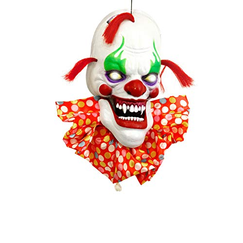 Scary Halloween Animatronics (Halloween Haunters Hanging Scary Circus Clown Head with Spooky Face and Flashing Multi-Color LED Eyes Prop Decoration - Menacing Ghoul Smile, Polka Dot Collar - Haunted House, Entryway, Party)
