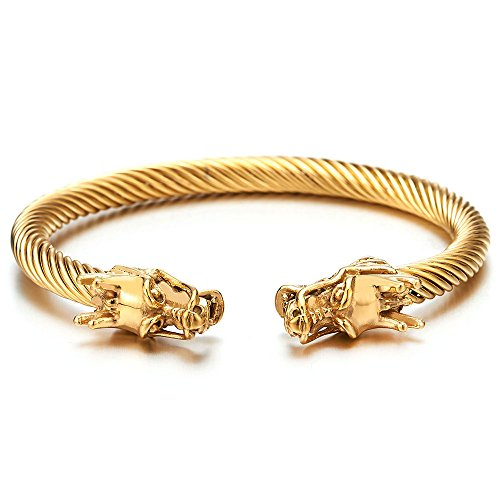 Elastic Adjustable Mens Steel Gold Color Dragon Head Twisted Cable Bangle Cuff Bracelet, - Head Dragon Bracelet
