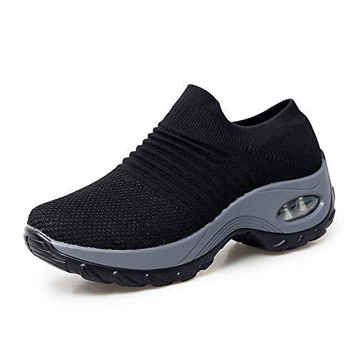 XMWEALTHY Women's Walking Shoes Breathable Mesh Slip On Athletic Shoes Fashion Sneakers Running Loafers Black US 8.5