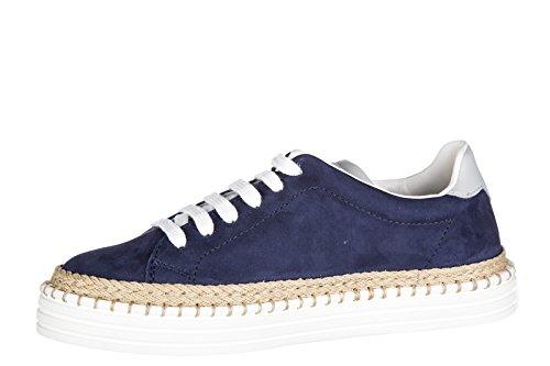 Hogan Rebel scarpe sneakers bimbo bambino camoscio nuove r260 allacciato blu