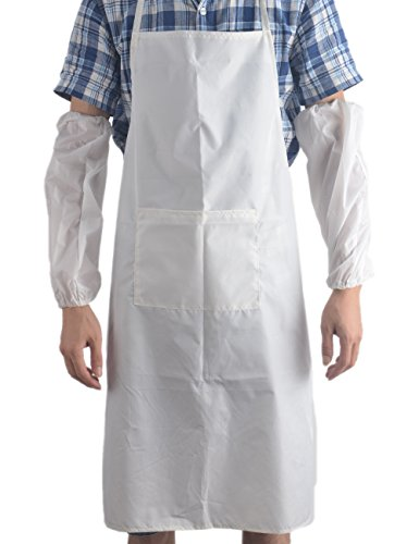 Hanging Neck Home PVC Waterproof Apron Bib with Cuff Durable Unisex for Women Men Chef Waiter Kitchen Cooking Household Tools, White (Pvc Hanging)