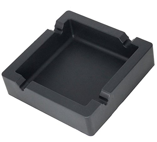 Cigars Large Black Cigar Ashtray and Big Cigarette Ashtrays Dual-use Unbreakable Silicone Ashtray with 4 Cigars and Cigarettes Dual-use Grooves for Patio/Outdoor/Indoor Ashtray Home Décor (Cigar Glass Art Ashtray)