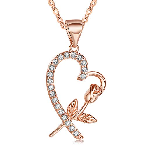 Heart Necklace Rose Flower Pendant 14K Rose Gold Rose Necklace Fashion Jewelry Gift for Women Mom (Sale Jewelry Chest For)