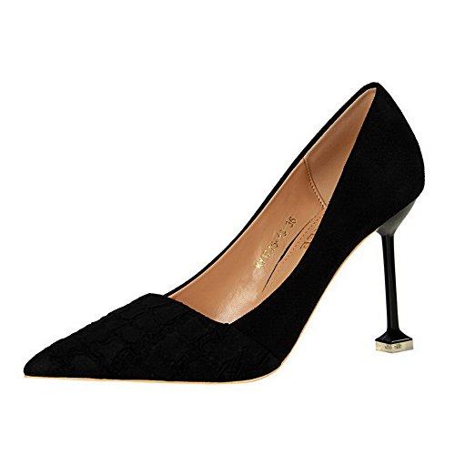 tacco Alto shoes Punta Imitata Nero Pompe Delle Chiuso Camoscio Donne Weipoot Pull Solido Ha on 0qw1p1T