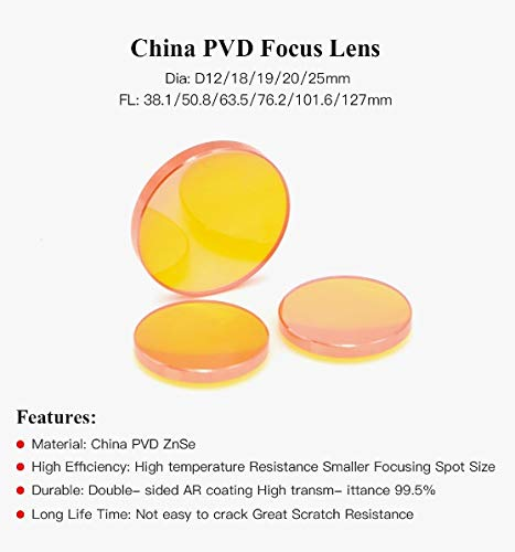 China PVD ZnSe Dia.12 18 19 20mm FL38.1 50.8 63.5 76.2 101.6mm CO2 Laser Focus Lens for Co2 Laser Cutting Engraving Machine WSF-LENC Diameter : 12mm, Focal Length : 50.8mm