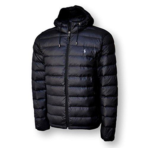 Polo Ralph Lauren Mens Full Zip Hooded Puffer Jacket (Large, Black)