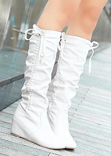 Aisun Womens Sweet Round Toe Elevator Dress Hidden Wedge Mid Heel Slip On Knee High Tall Boots Shoes White fjdPah