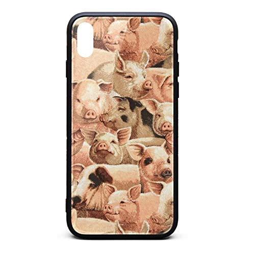 iPhone Xs Case/iPhone X Case On The Farm Pigs Shockproof Case Soft Screen Protector Compatible with iPhone X/XS ()