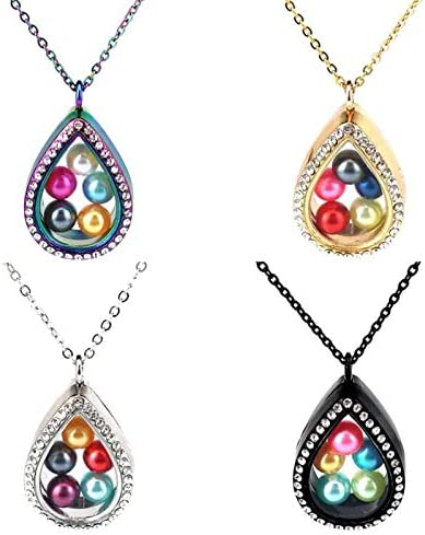CliPons Living Memory Floating Square Locket Pendant Necklace Crystal 316L Stainless Steel Rainbow