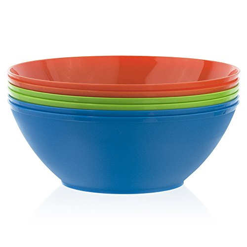 Fresco 10-inch Plastic Mixing and Serving Bowls | set of 6 in 3 Classic Colors]()