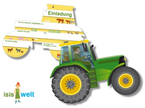 6 Einladungskarten * Trecker * Für Kindergeburtstag Von DH Konzept //  BHEKARTE001 // Kinder Geburtstag Party Jungen Bauernhof Farm Tiere Traktor  Einladung ...