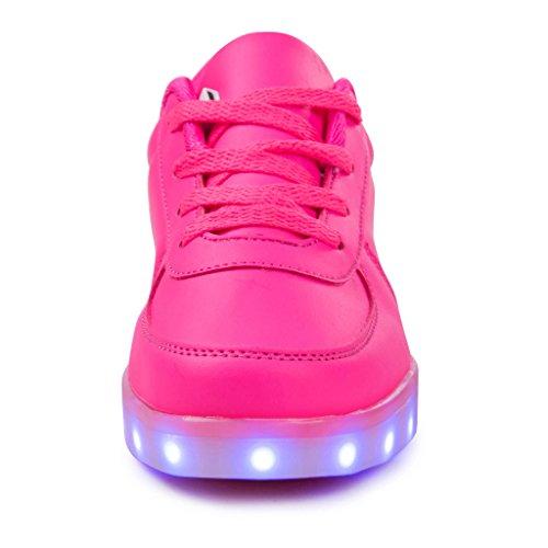 SAGUARO® Unisex niños USB Carga LED Luz Luminosas Flash Zapatos Zapatillas de Deporte para Los Reyes Magos rosa