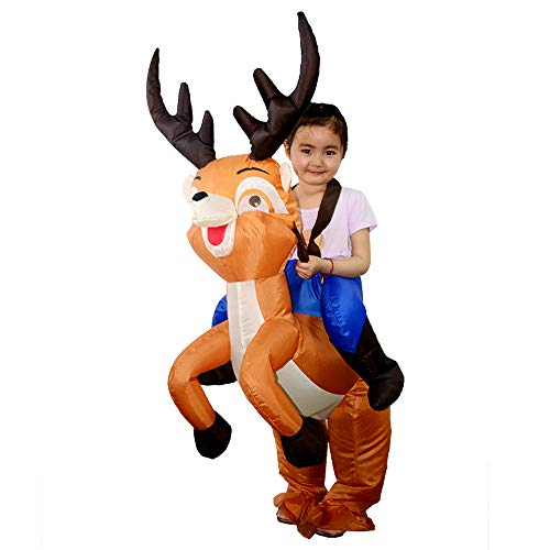 Inflatable Deer Costume (Inflatable Costume Ride On Moose elk Animal Costume Thanksgiving Day Cosplay Party Piggyback Wapiti Halloween Christmas Costumes for)