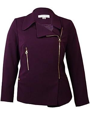 Calvin Klein Women's Asymmetrical Zipper Embellished Blazer