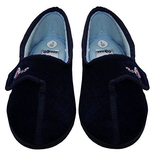 Jyoti - Zapatillas de estar por casa de Terciopelo para mujer azul marino