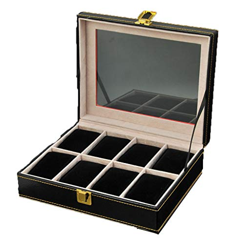 Watch Box Wood 8 Slots Watch Jewelry Display Storage Boxes with Glass Top and Removal Storage Pillows with Lockable Keys,A-L25.5W20.5H8.5cm by Watch Boxes (Image #6)