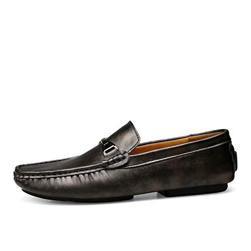 Scarpe Scarpe Casual on Scarpe Pelle da Driving Flat Mocassini in Morbide Cricket Nero da Slip Uomo Mocassini Barca Vera Shoes wX5nORgq