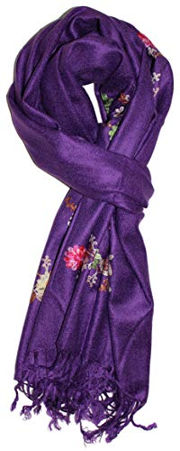 (Ted and Jack - Simple Classic Embroidered Solid Pashmina (Purple))