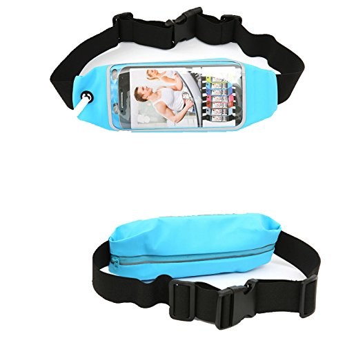FiveMax Waterproof Travel Running Belt for Both Men and Women for iPhone 7 Plus, 7, 6 Plus, 6, 5S; S6; LG G5, up to 5.5 Inch Color Light Blue