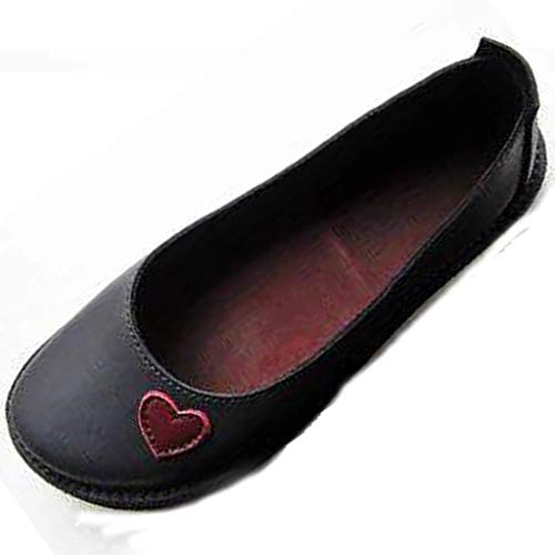 (Tantisy ♣↭♣ Women's Ballet Flats Classy Simple Casual Slip-on Comfort Walking Shoes Ladies Travel Shoes Multicolor Black )