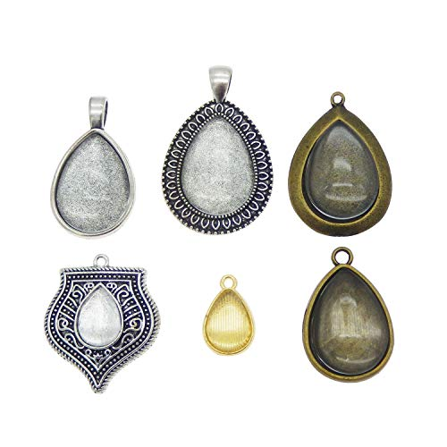 Teardrop Setting - Julie Wang 12 Sets Mixed Color Metal Teardrop Shape Bezel Pendant Tray Settings with Glass Cabochons