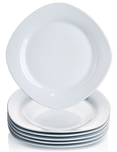 YHY 6 Pcs 10.5-inch Porcelain Dinner Plates, Square Round Serving Plate Set, White