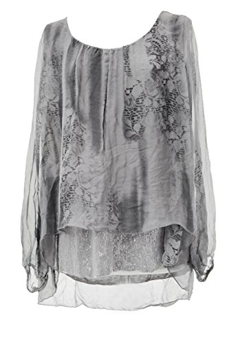Italian Lagenlook Ladies Long Silk Plus Women Print Sleeves Top Grey Size Silver Hem Sequin Snake Texture one Blouse Tunic One Size xCwpEqdx