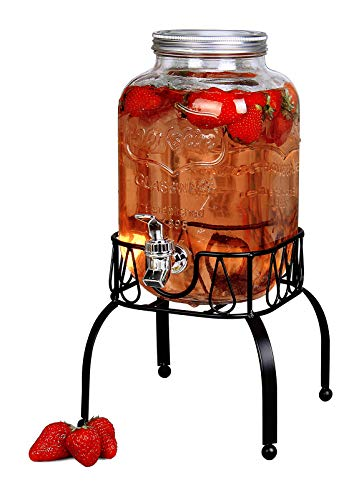 Estilo EST3088 On On Metal Stand with Leak free Spigot 1 Gallon Single Beverage Drink Dispenser, Clear ()