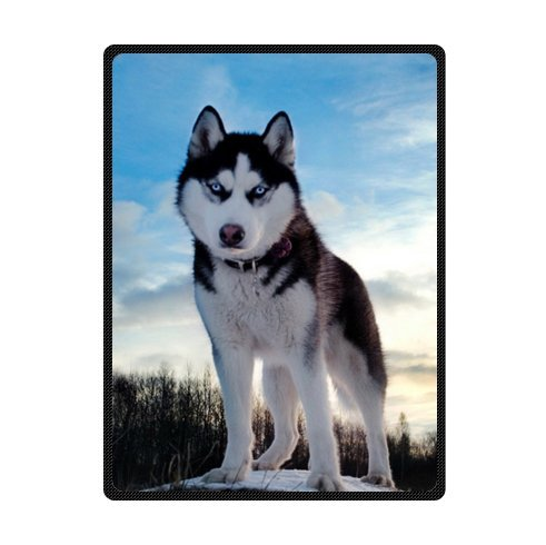 Custom white black husky/huskie dogs Super Soft Warm Fleece Throw Blanket 58 x 80 (Large) by husky Fleece Blanket